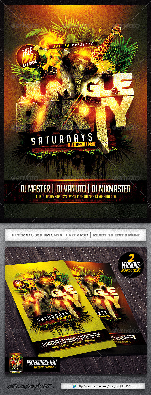 GraphicRiver Jungle Party Flyer Template 5136771