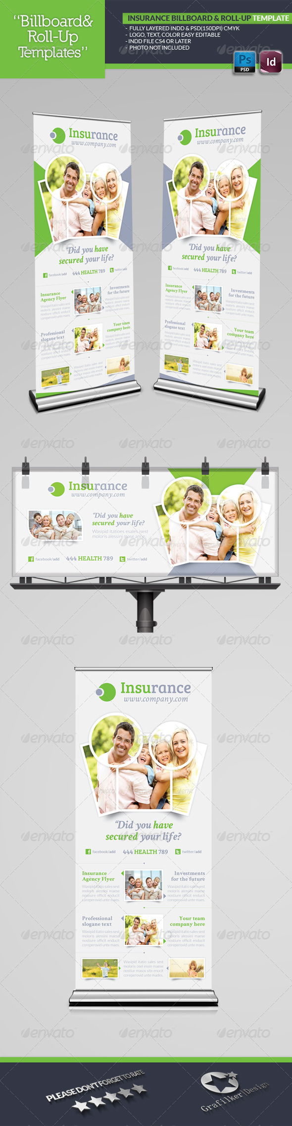 Insurance Agency Billboard & Roll-Up Template - Signage Print Templates
