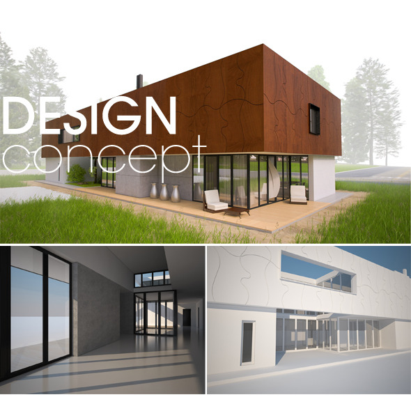 3d Models Contemporary Modern House Concept 3docean