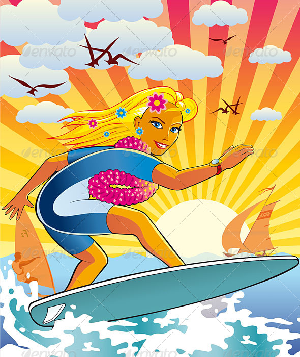 GraphicRiver Surfing Girl 5138022