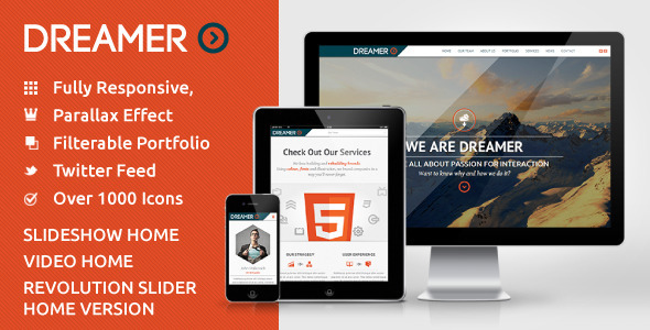 Dreamer - Photo & Video Parallax WordPress Theme - WordPress