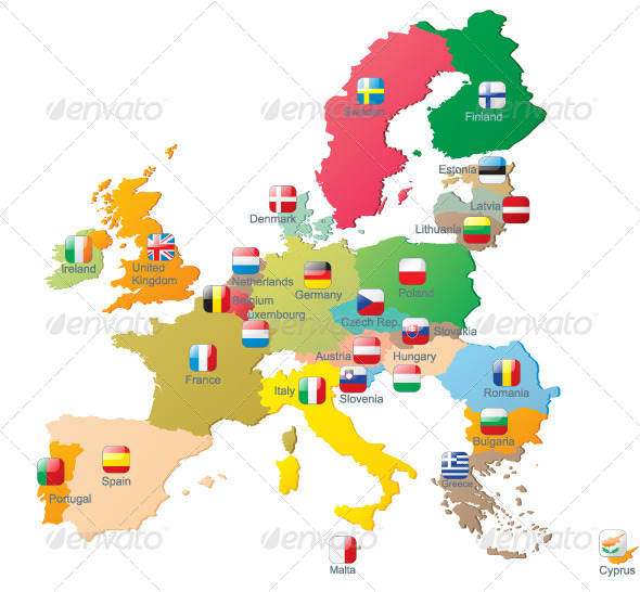 GraphicRiver The European Union Map with Flags 5138954