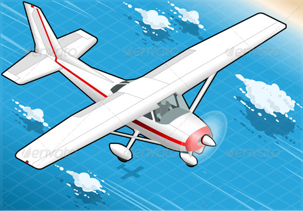 GraphicRiver Isometric White Plane in Flight in Front View 5139045