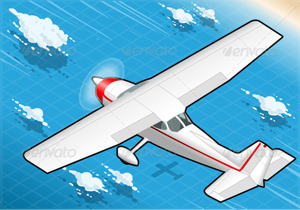 GraphicRiver Isometric White Plane in Flight in Rear View 5139053