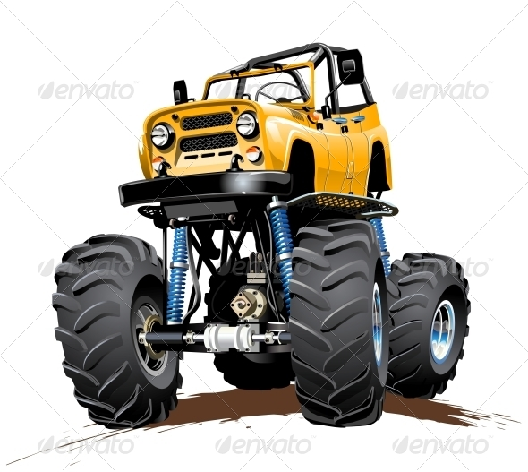 GraphicRiver Cartoon Monster Truck One Click Repaint 5139090