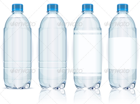 GraphicRiver Four Plastic Bottles with Generic Labels 5139105