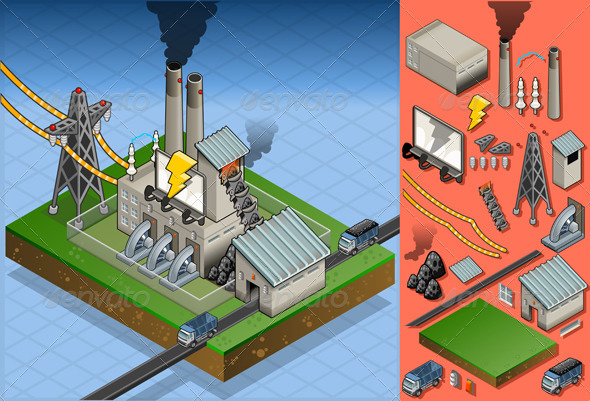 GraphicRiver Isometric Coal Plant in Electricity Production 5139126