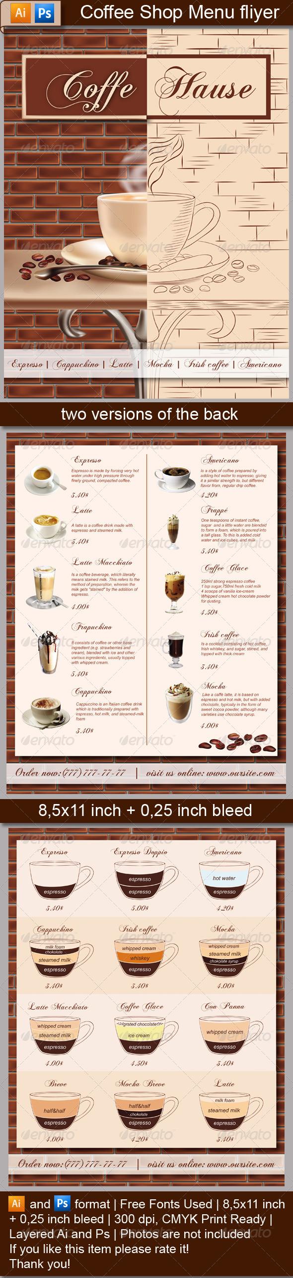 GraphicRiver Coffee Shop Menu Flyer 5083234