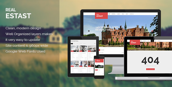 RealEstast PSD Template is The Best Solution To Sell Property Online. This template is appropriate for Real Estate Company, but flexible suitable for any busine