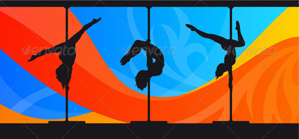 GraphicRiver Silhouettes of Pole Dancers on Abstract Background 5131942