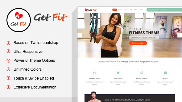 GetFit - Gym Fitness Multipurpose WordPress Theme
