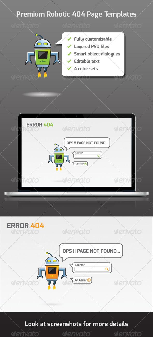 GraphicRiver Premium Robotic 404 Page Templates 5142054