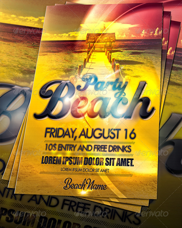 GraphicRiver Amazing Beach Party Flyer 255637