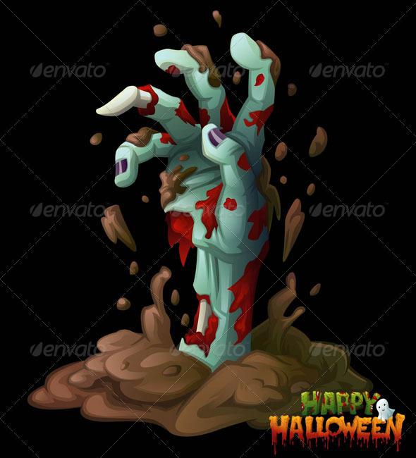 GraphicRiver Zombie Hand Halloween Vector Clip Art 529347