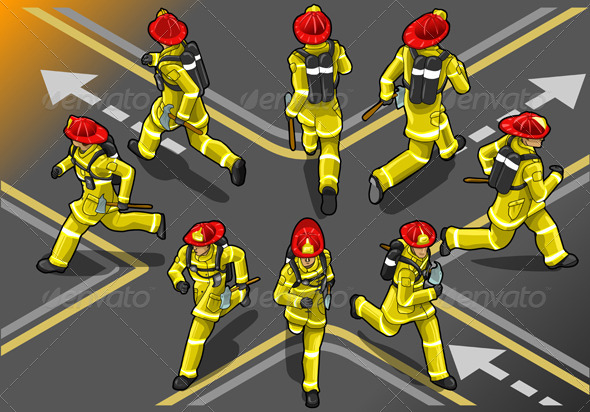 GraphicRiver Isometric Runner Firefighter in Eight Positions 5143667