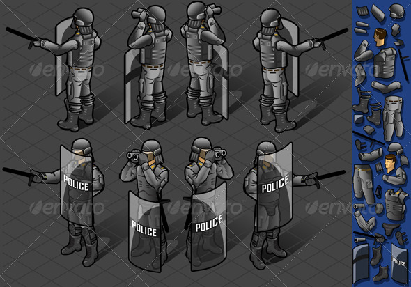 GraphicRiver Isometric Set of Eight policeman Standing 5143759