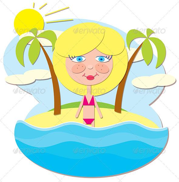 GraphicRiver Girl at Sea 5144529