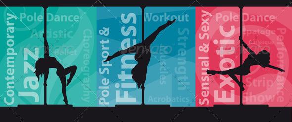 GraphicRiver Silhouettes of Pole Dancers on Abstract Background 5144640