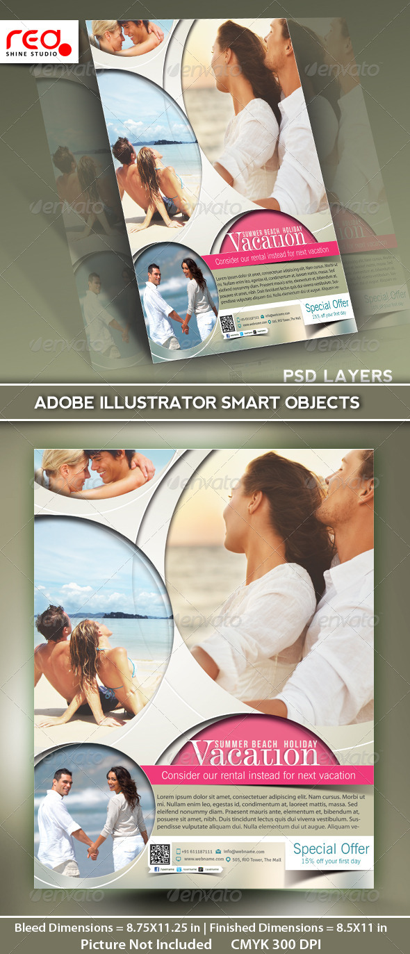 GraphicRiver Vacation Flyer Poster Magazine Template 5144866