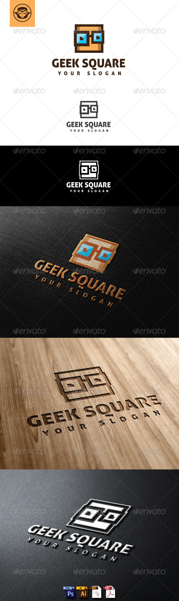 GraphicRiver Geek Square Logo Template 5146959