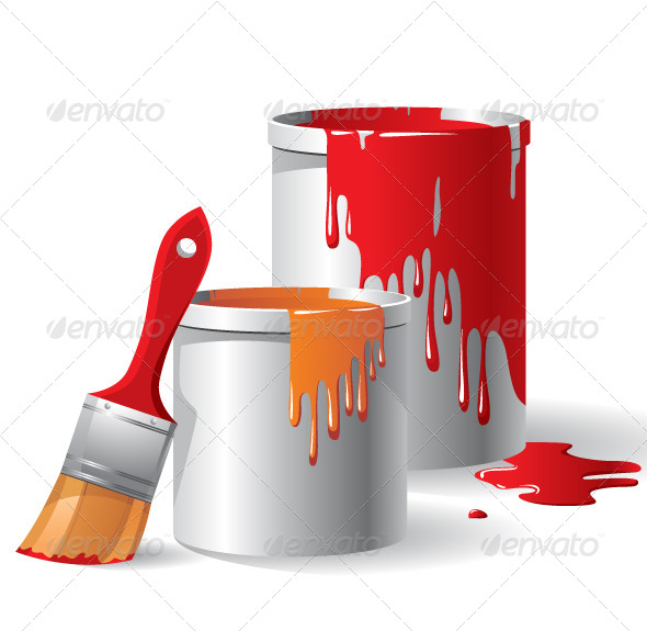 Paint Buckets and Paintbrush