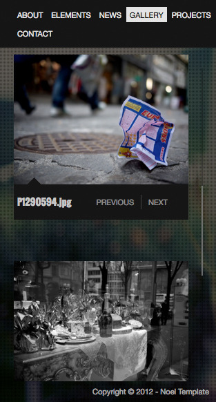 Noel - Onepage AJAX Template - Gallery Mobile