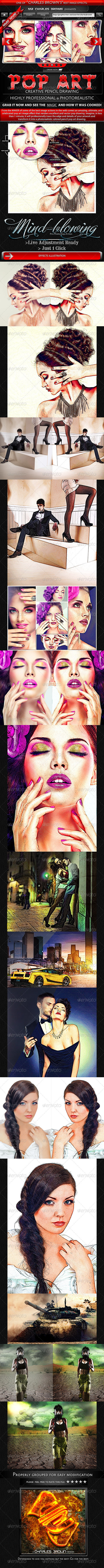 Creative Pop Art Pencil Drawing - Photo Effects Actions