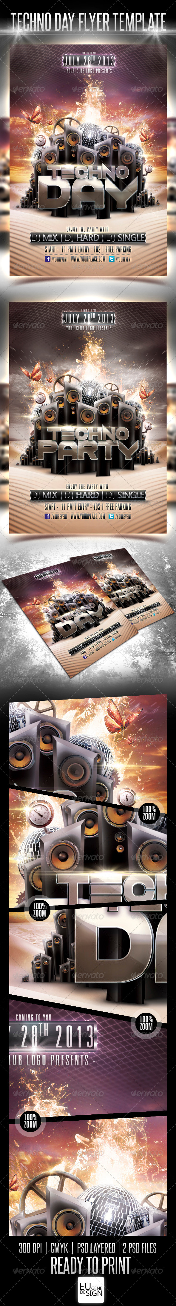 GraphicRiver Techno Day Flyer Template 5149141