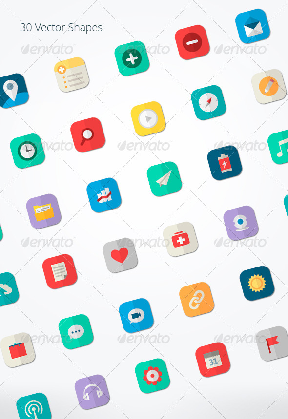 GraphicRiver Mixed Flat Icons for Apps 5149432