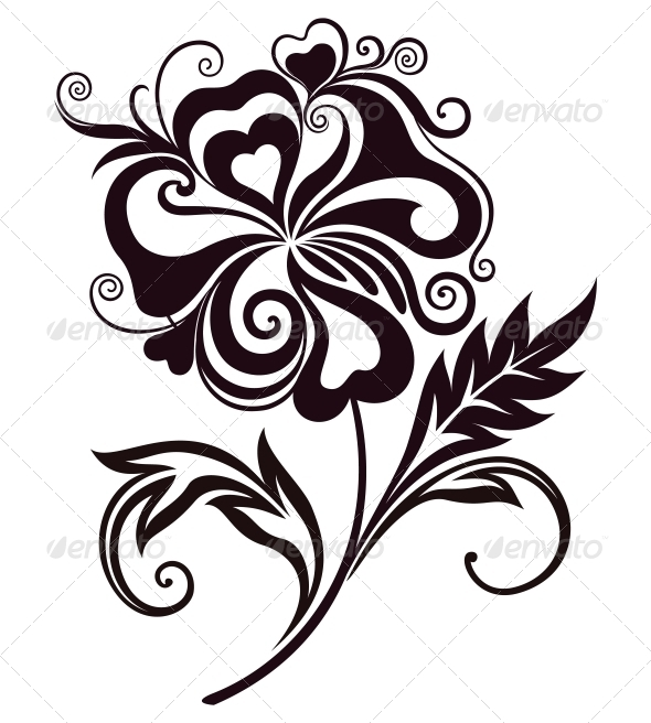 Abstract Line Drawing Flowers : Abstract flower line art graphicriver