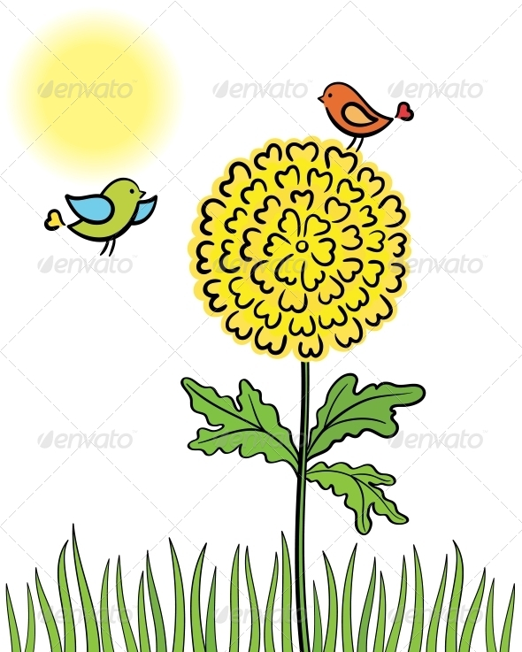GraphicRiver Two Enamored Bird Couple on the Flower 5149872