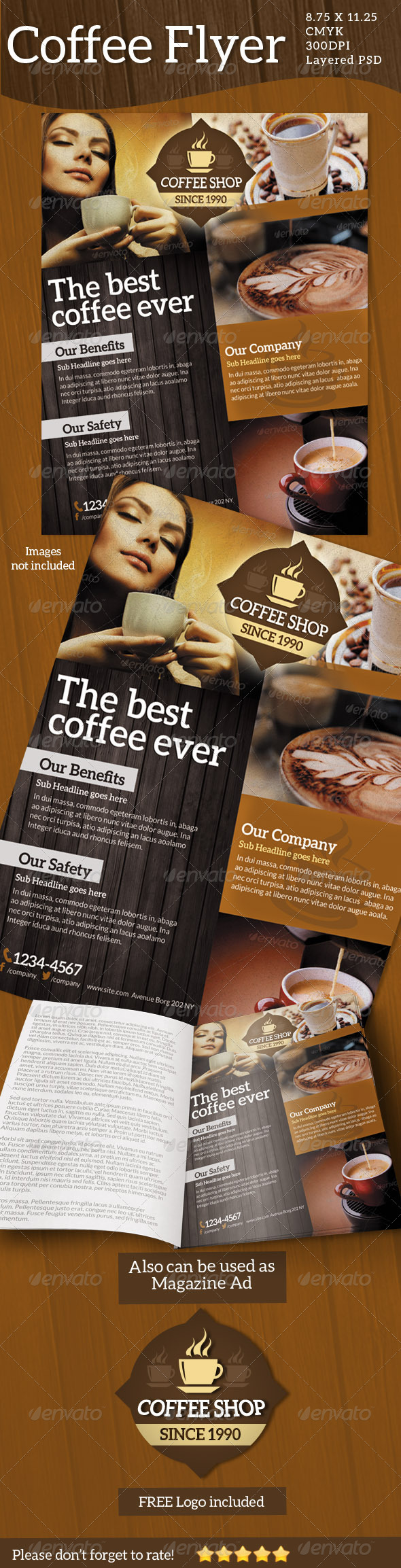 GraphicRiver Coffee Flyers Print ad 5149895