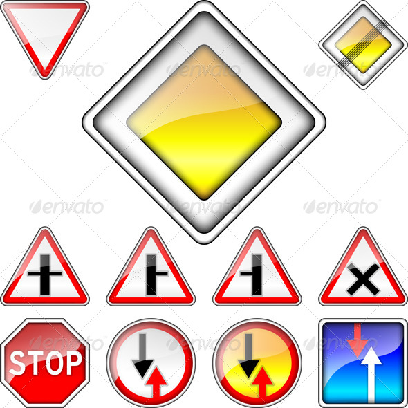 Set of Road Signs Priority - Man-made Objects Objects