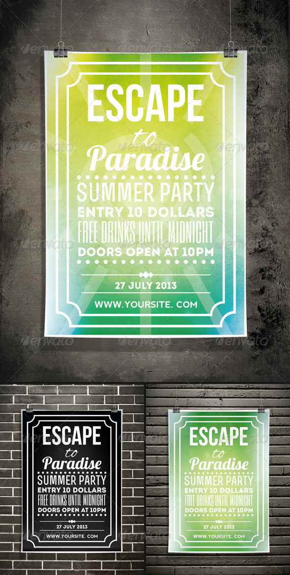 GraphicRiver Escape to Paradise Summer Typography Flyer 4818521