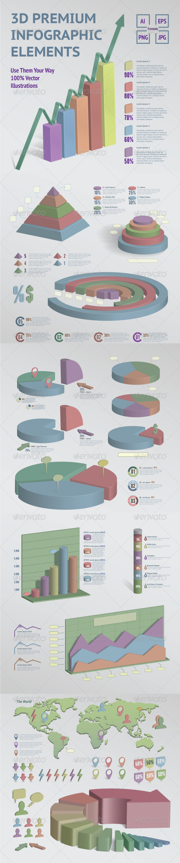 GraphicRiver 3D Premium Infographic Kit 5100778