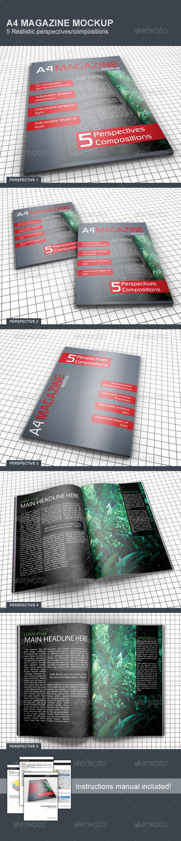 GraphicRiver Realistic A4 Magazine Mockup 5150180