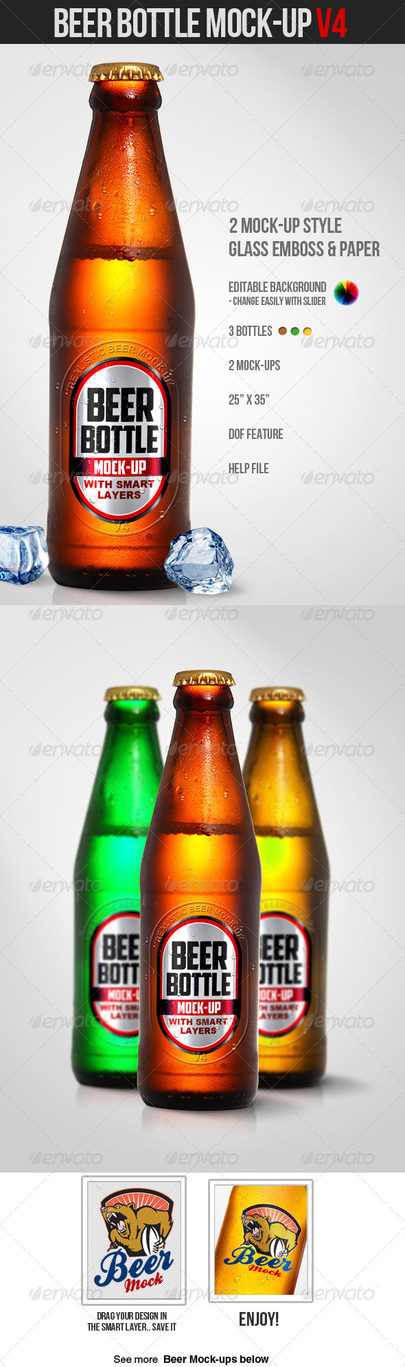 Beer Bottle Mock-Up V4 - Product Mock-Ups Graphics