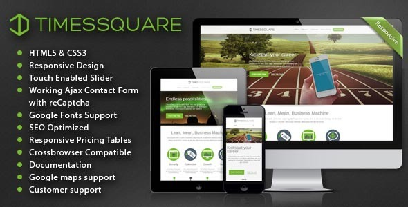 Timessquare - Responsive HTML5 Retina Landing Page - Corporate Site Templates