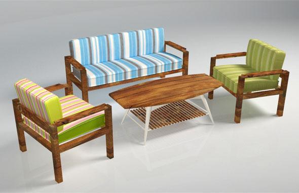 3DOcean Wooden Sofa Pack 5150825