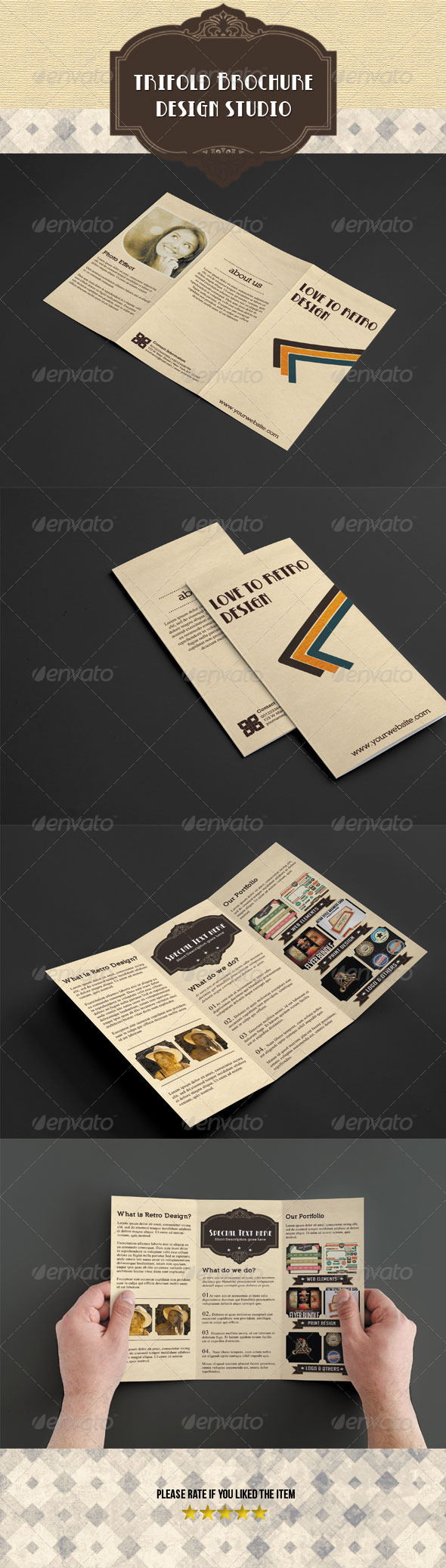 GraphicRiver Retro Trifold Brochure 5150834