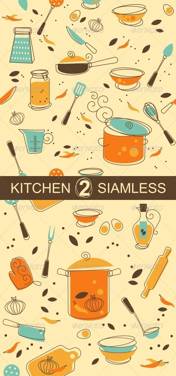 GraphicRiver Two Kitchen Seamless Pattern 5144161