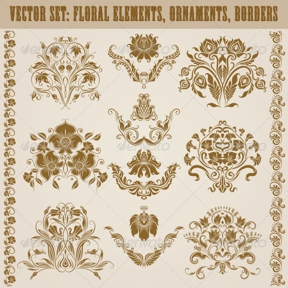 GraphicRiver Set of Vector Damask Ornaments 5151290