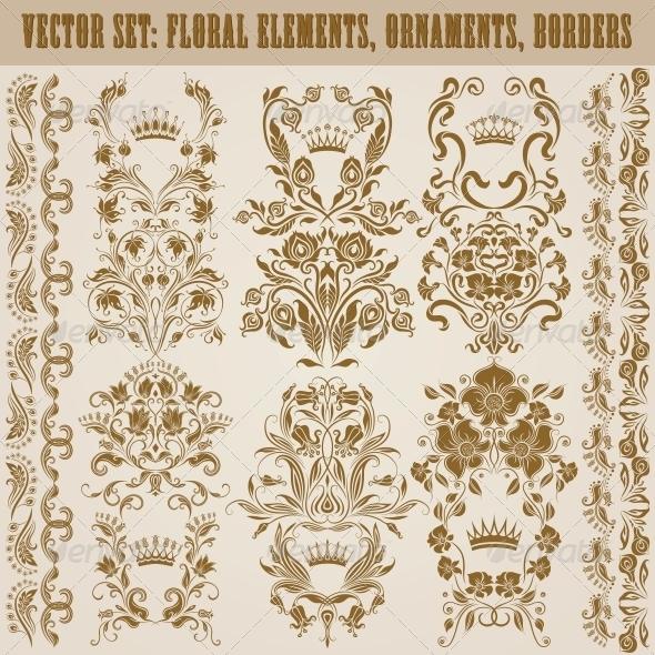 GraphicRiver Set of Vector Damask Ornaments 5151296