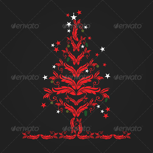 GraphicRiver Floral Christmas Tree 5151316
