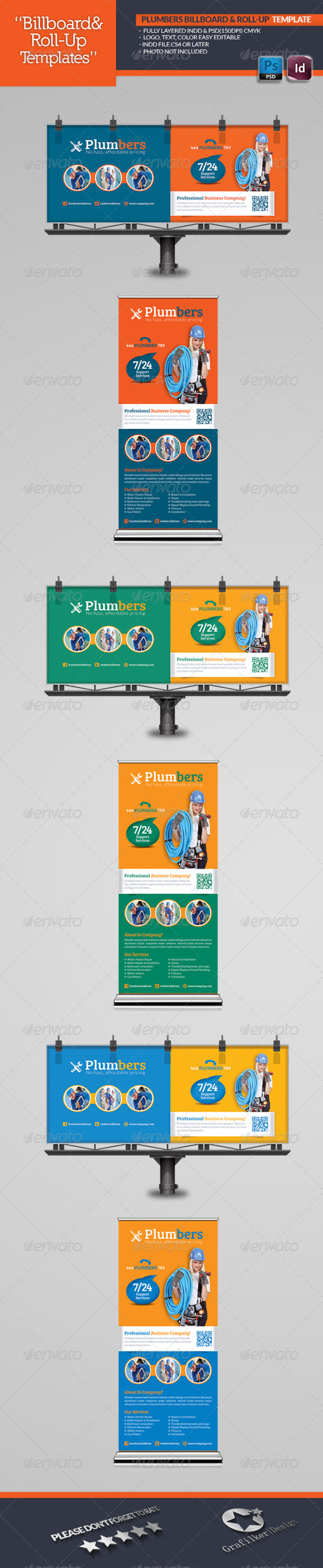 GraphicRiver Plumbers Billboard & Roll-Up Template 5153758