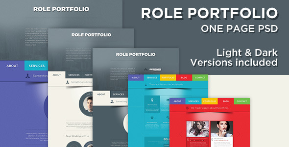 Role One Page Portfolio PSD Template