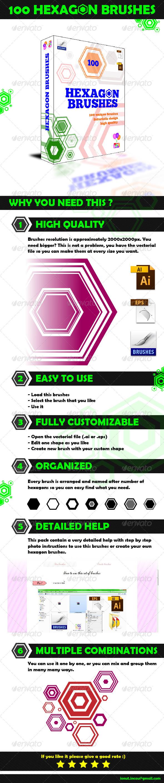 GraphicRiver 100 Hexagon Brushes Photoshop Brushes 5155164