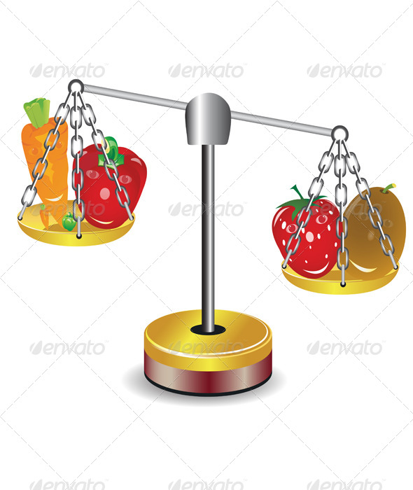 GraphicRiver Set of Fruits and Vegetables on scales 5155390