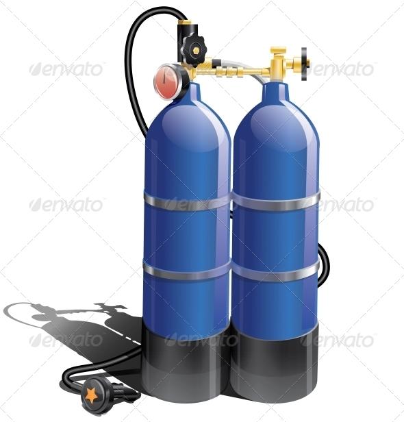GraphicRiver Blue Aqualung for Scuba Diving 5155606