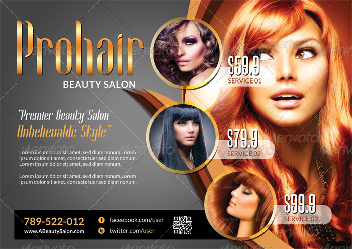 modern beauty salon flyer template by katzeline